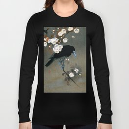 Vintage Japanese Crow and Blossom Woodblock Print Long Sleeve T-shirt