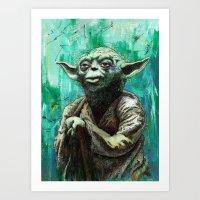 yoda Art Prints featuring YODA by Tom Deacon