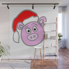 Christmassy Pig Wall Mural