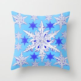 BABY BLUE SNOW CRYSTALS BLUE WINTER ART DESIGN Throw Pillow