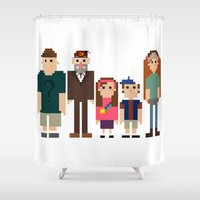 gravity falls Shower Curtains featuring Gravity Falls 8-bit by Evelyn Gonzalez