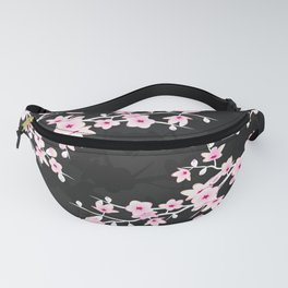 Pink Black Cherry Blossom Fanny Pack