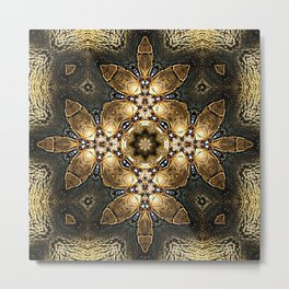 Golden Tribal Abstract Pattern Metal Print