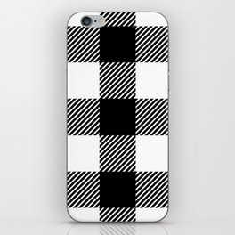 Black & White Buffalo Plaid iPhone Skin