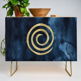 Infinity Navy Blue And Gold Abstract Modern Art Painting Credenza