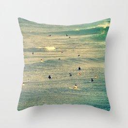 Maui Surfers Retro Throw Pillow