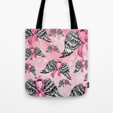 Breast cancer awareness winged ribbons pattern.  Tote Bag