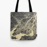montreal Tote Bags featuring Montreal Map by Map Map Maps