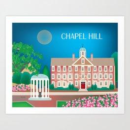 Chapel Hill, North Carolina - Skyline Illustration by Loose Petals Art Print