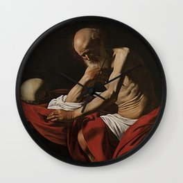 Saint Jerome in Meditation - Caravaggio Wall Clock