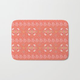Coral Daisies Patchwork Cosy Homely Quilt Design Bath Mat