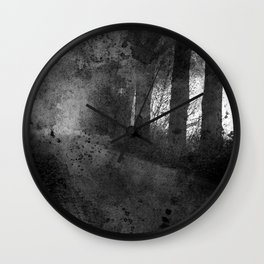 Abstract black white misty landscape Wall Clock