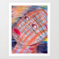 Plaid Head2 Art Print