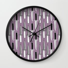 Double Knives in Mauve Wall Clock