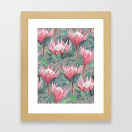 Pink Painted King Proteas on grey Framed Art Print