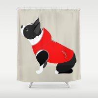 boston terrier Shower Curtains featuring Boston Terrier by Marstella
