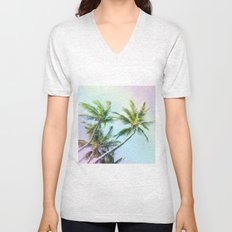 Relaxing Rainbow Color Palms Unisex V-Neck