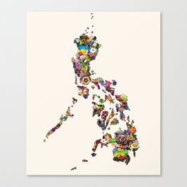 7,107 Islands | A Map of the Philippines Canvas Print