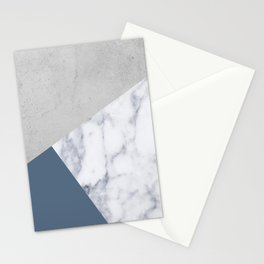 NAVY BLUE MARBLE GRAY GEOMETRIC Stationery Cards