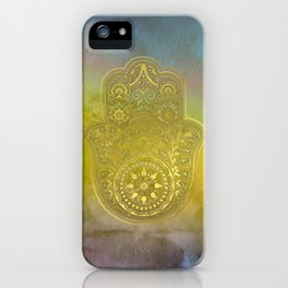 Colorful Watercolor And Gold Hamsa Hand iPhone Case