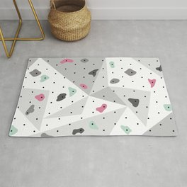 Abstract geometric climbing gym boulders pink mint Rug