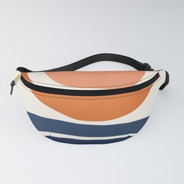 Abstract Shapes 7 in Burnt Orange and Navy Blue Fanny Pack