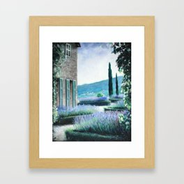 Lavender flower garden oil painting Framed Art Print