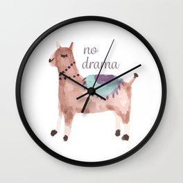 No drama llama cute watercolor llama Wall Clock