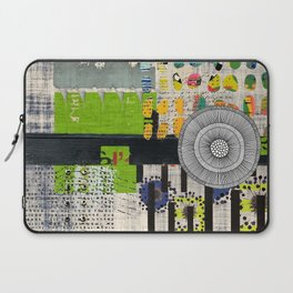 Lime & Navy Abstract Art Collage Laptop Sleeve