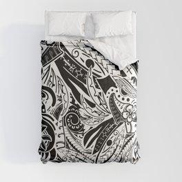 Black And White Polynesian Tribal Comforters