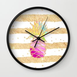 Modern pink watercolor pineapple faux gold glitter stripes Wall Clock
