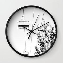 Ski Lift // Black and White Daylight Chairlift Mountain Photograph Wall Clock