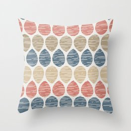Geometric Egg Shapes Flower Petal Leaves Pattern Blue Coral Beige Throw Pillow
