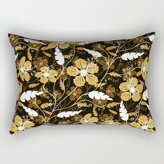Abstract,floral pattern. Golden flowers on a black background. Rectangular Pillow