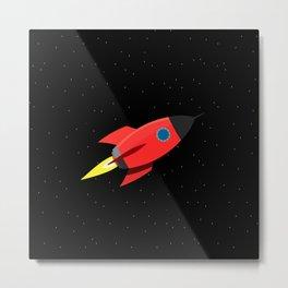 Rocket In Space Metal Print