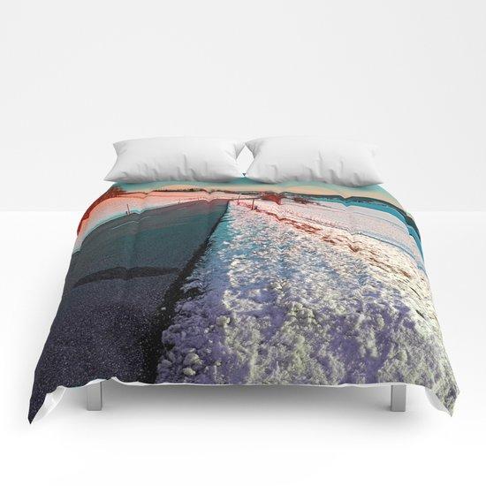Winter road in vibrant colors Comforters