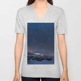 Arctic Night Sky With Bright Stars Blue And Orange Sky Unisex V-Neck