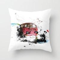 volkswagen Throw Pillows featuring volkswagen van by Adriana Bermúdez