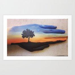 Sunset Hand Art Print