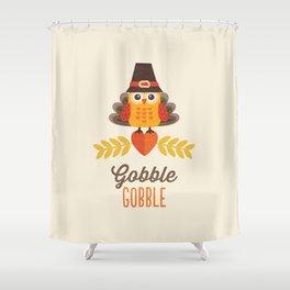 THANKSGIVING OWL IN TURKEY COSTUME AND PILGRIM HAT Shower Curtain