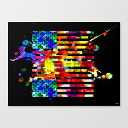US Flag Black Black Canvas Print