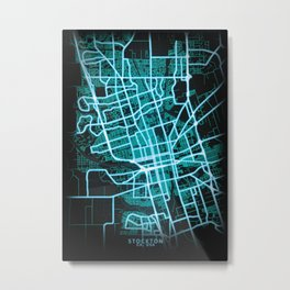 Stockton, CA, USA, Blue, White, Neon, Glow, City, Map, Blue, White, Neon, Glow, City, Map Metal Print