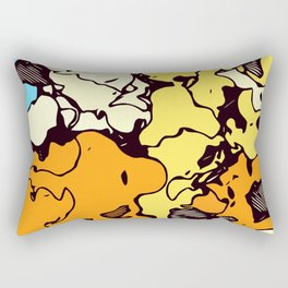 psychedelic graffiti drawing and painting in orange yellow and blue Rectangular Pillow