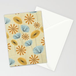 Retro Floral Pattern Yellow Stationery Cards