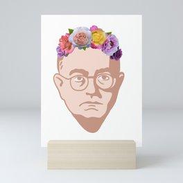 Theodor Adorno - Portrait With Flower Crown Mini Art Print