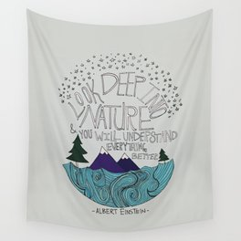 Look Deep into Nature - Ocean Mountain Illustration and Typography Wall Tapestry