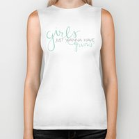 guns Biker Tanks featuring Girls & Guns by Niki Addie Creative Design Co.