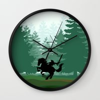 the legend of zelda Wall Clocks featuring Legend Of Zelda by Kesen