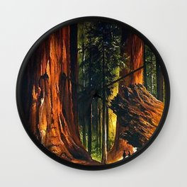 'Redwoods, Yosemite Forest' landscape painting by Gilbert Munger Wall Clock