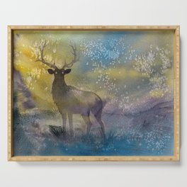 Burning Mists - watercolor illustration painting of an elk coming out of a magical fairy mist from a Serving Tray